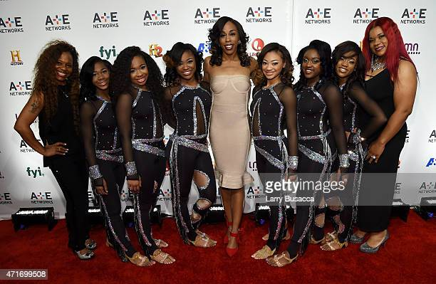 Dianna Miss D Williams and the Dancing Dolls attend 2015 AE Networks Upfront on April 30 2015 in New York City