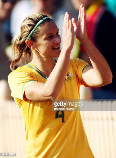 Dianne Alagich of Australia applauds fans on a lap of honour after the women's international match between the Australian Matildas and the New...