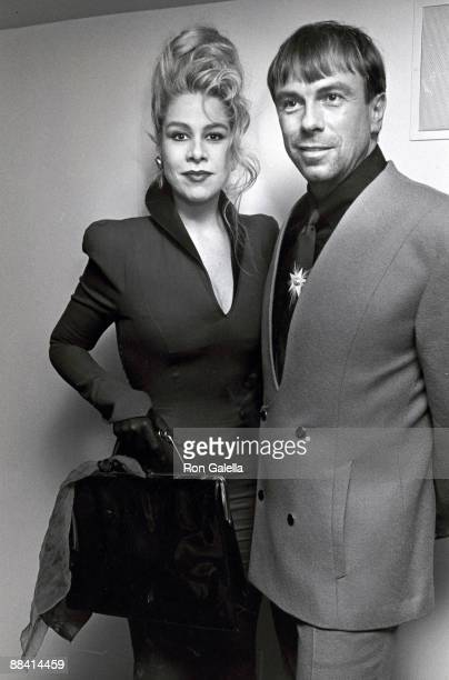 Dianne Brill and designer Thierry Mugler attending Party for Thierry Mugler on February 16 1989 at Indochine in New York City New York