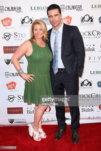 Dianne Burnett and actor/model Dustin Moss arrive at the 40th Anniversary StockCross Party on July 25 2013 in Beverly Hills California