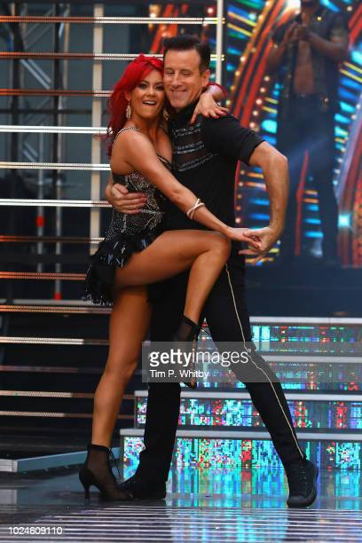 Dianne Buswell and Anton Du Beke attend the red carpet launch for 'Strictly Come Dancing 2018' at Old Broadcasting House on August 27 2018 in London...