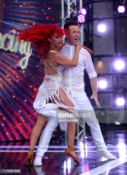 Dianne Buswell and Anton Du Beke attend the Strictly Come Dancing launch show red carpet at Television Centre on August 26 2019 in London England