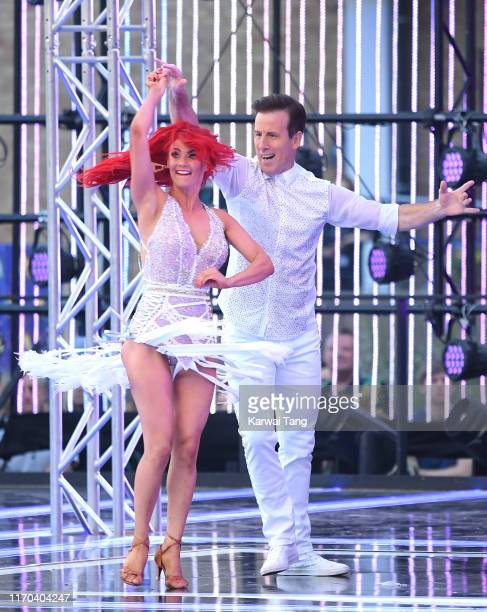 Dianne Buswell and Anton du Beke attend the Strictly Come Dancing launch show red carpet arrivals at Television Centre on August 26 2019 in London...