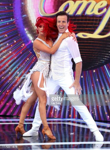 Dianne Buswell and Anton du Beke on stage at the Strictly Come Dancing launch show at Television Centre on August 26 2019 in London England