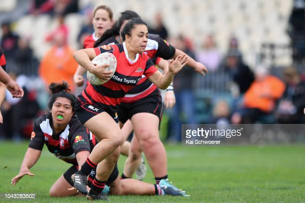 Dianne Hiini of Canterbury charges forward during the round five Farah Palmer Cup match between Canterbury and Counties Manukau at Christchurch...