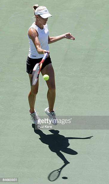 Dianne Hollands of New Zealand plays a return shot to Ayu Fani Damayanti of Indonesia during day three of the Fed Cup Asia/Oceania Zone Group 1 2...