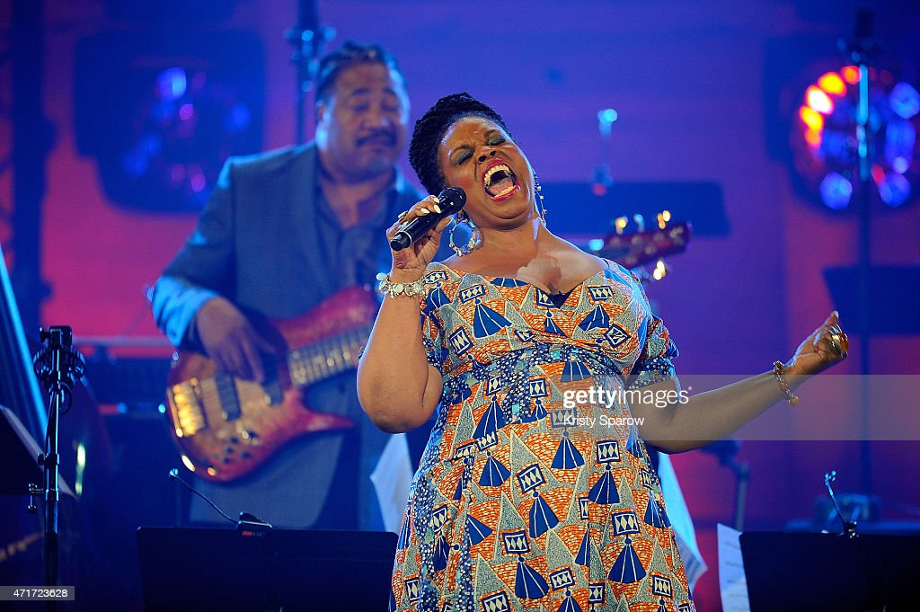 Dianne Reeves and James Genus perform on stage during the International Jazz Day 2015 Global Concert at UNESCO on April 30, 2015 in Paris, France.