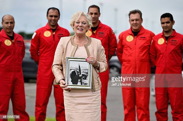 Dianne Stein daughter of Jock Dalgleish a Scot who helped form the Royal Jordanian Falcons meets with pilots ahead of them taking part in Scotlands...