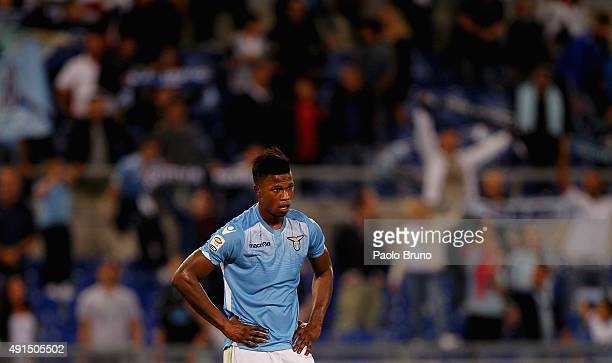 Diao Keita Balde of SS Lazio reacts during the Serie A match between SS Lazio and Frosinone Calcio at Stadio Olimpico on October 4 2015 in Rome Italy
