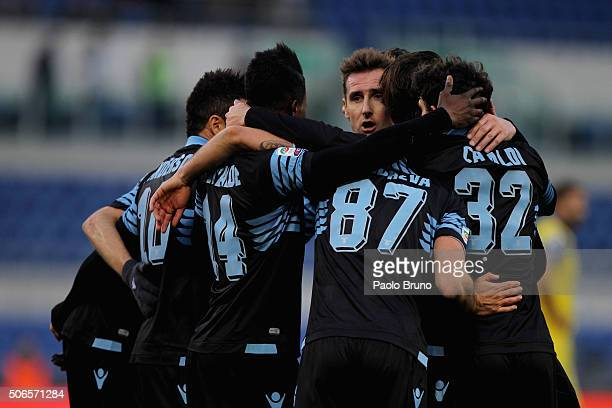 Diao Keita Balde with his teammates of SS Lazio celebrates after scoring the team's fourth goal during the Serie A match between SS Lazio and AC...
