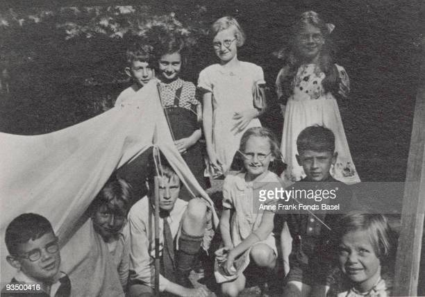 Diarist Anne Frank with a group of other children probably at a summer camp circa 1937