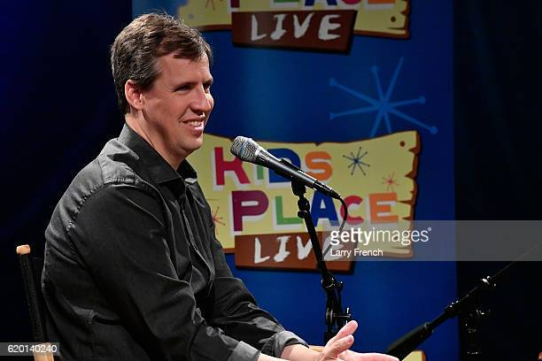 Diary of a Wimpy Kid author Jeff Kinney appears on Kids Place Live hosted by Mindy Thomas host of the Absolutelky Mindy Show at SiriusXM Studio on...