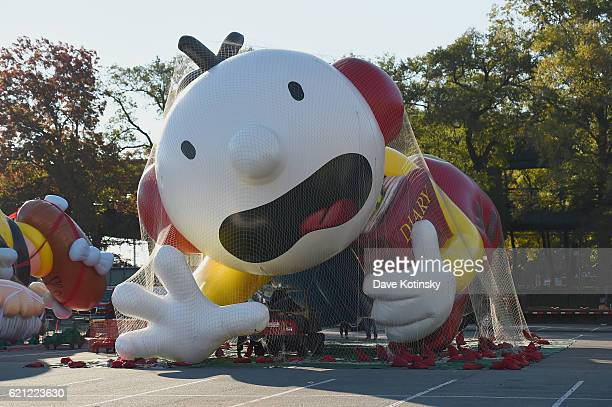 Diary of A Wimpy Kid inflates at Macy's Balloonfest in preparation for the 90th Anniversary Macy's Thanksgiving Day Parade at Citi Field on November...