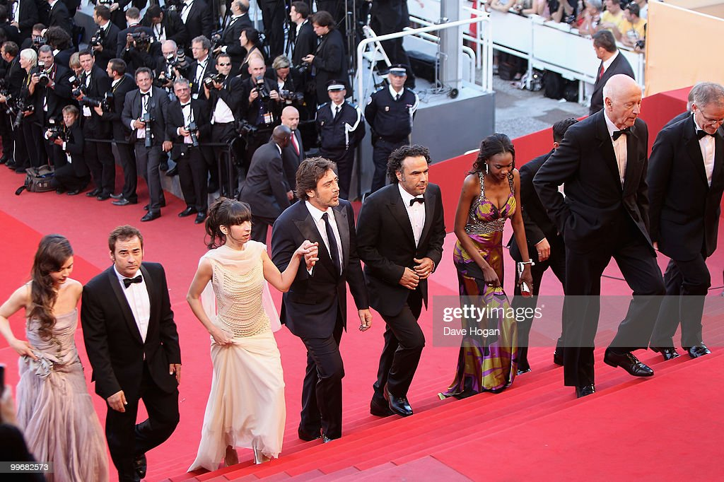 Diaryatou Daff, Director Alenjandro Gonzalez Inarritu, Actor Javier Bardem, actress Maricel Alvarez, Eduardo Fernandez and Martina Garcia attend 'Biutiful' Premiere at the Palais des Festivals during the 63rd Annual Cannes Film Festival on May 17, 2010 in Cannes, France.