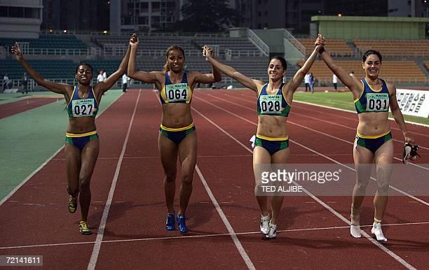 Dias Amanda Fontes Silva Lucimara Silvestre Presti Thaissa Barbosa and Krasucki Franciela Das Gracas of Brazil celebrate after winning the women's...