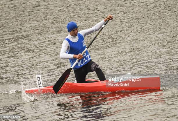 Dias Bakhraddin of Kazakhstan competes in the Men Canoe Head to Head Sprint during day 6 of Buenos Aires Youth Olympic Games 2018 at Urban Park...