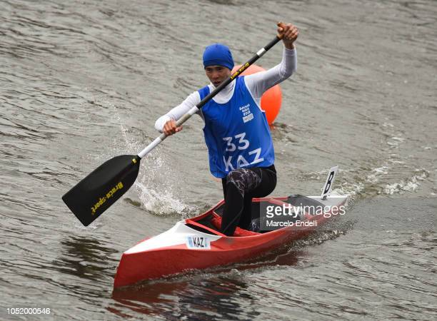 Dias Bakhraddin of Kazakhstan competes in the Men Canoe Head to Head Sprint Final during day 6 of Buenos Aires Youth Olympic Games 2018 at Urban Park...