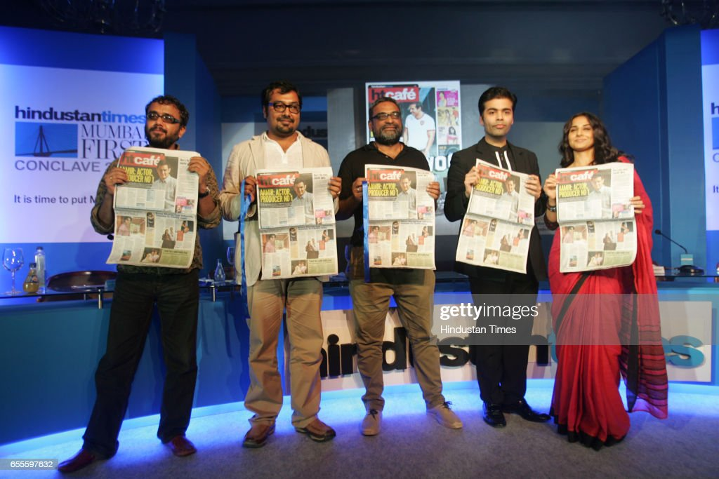 Dibakar Banerjee, Anurag Kashyap, R Balki, Karan Johar and Vidya Balan at the launch of the new HT Cafe Broadsheet.