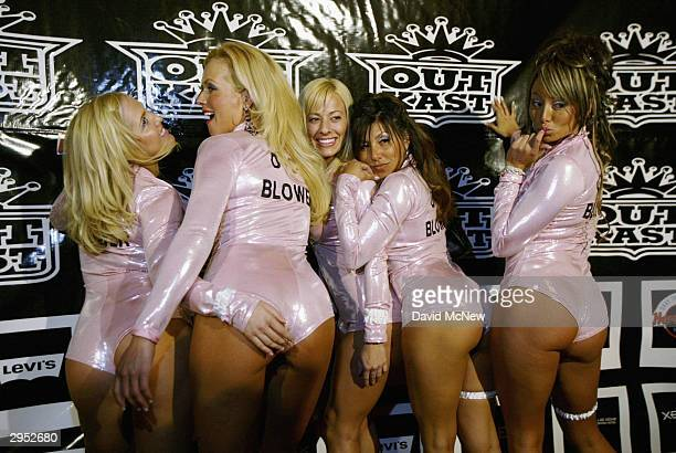 Dice Blower girls appear to bring luck to those throwing dice at the Polaroid Outkast Grammy After Party following the awards show on February 8 2004...