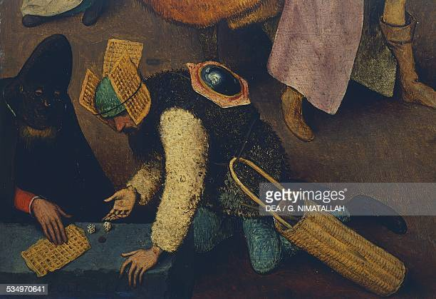 Dice players detail from The fight between Carnival and Lent by Pieter Brueghel the Elder oil on panel 118x164 cm Belgium 16th century Vienna...