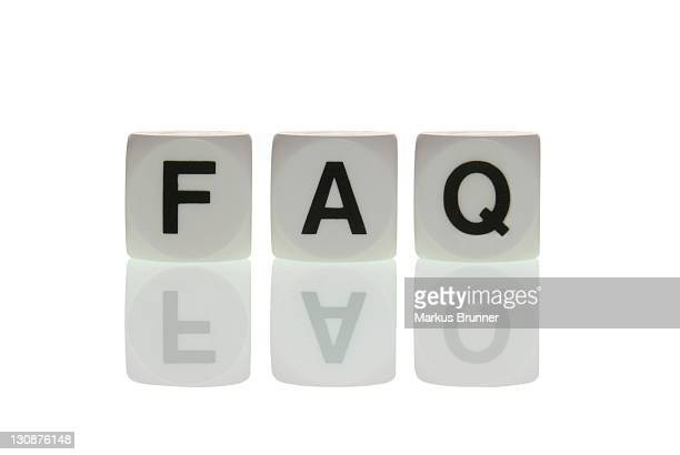 Dice with the letters FAQ