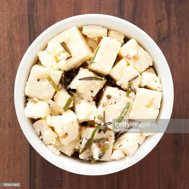 Diced feta cheese with herbs