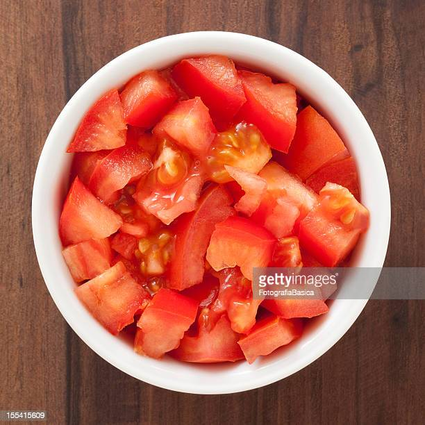 diced tomato - bowl stock pictures, royalty-free photos & images