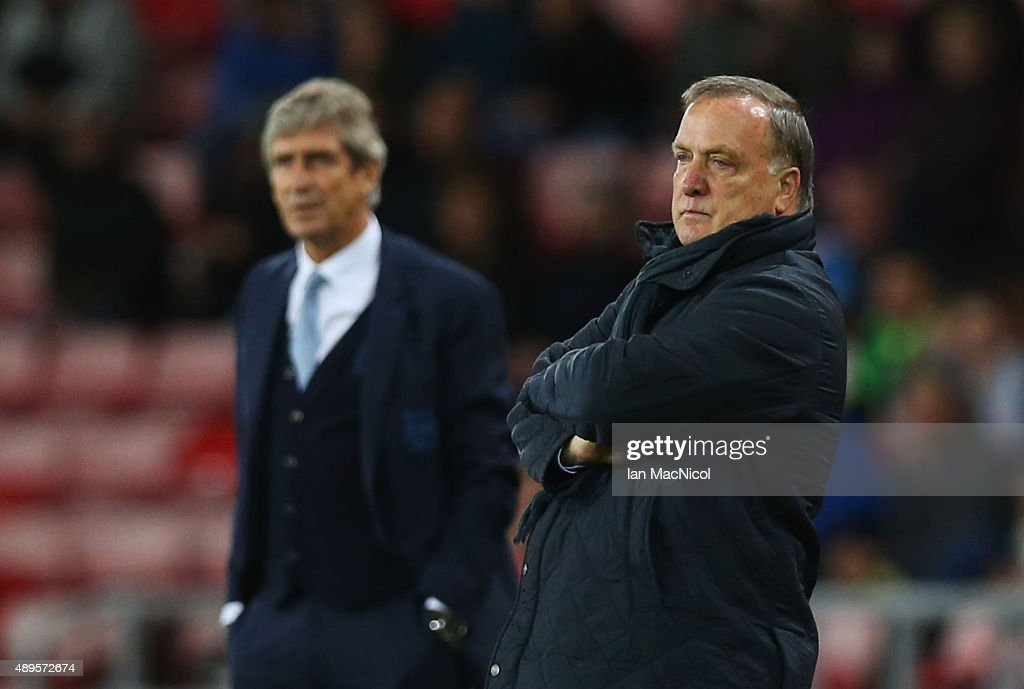 Dick Advocaat manager of Sunderland on the touchline during the Capital One Cup third round match between Sunderland and Manchester City at Stadium of Light on September 22, 2015 in Sunderland, England.
