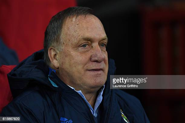 Dick Advocaat the head coach of Fenerbahce looks on during the UEFA Europa League Group A match between Manchester United FC and Fenerbahce SK at Old...