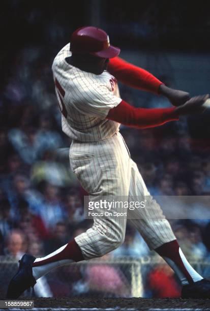 Dick Allen of the Philadelphia Phillies bats during an Major League Baseball game circa 1964 at Connie Mack Stadium in Philadelphia Pennsylvania...