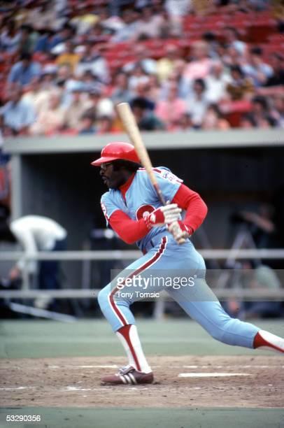 Dick Allen of the Philadelphia Phillies bats during an MLB game at Veterans Stadium in Philadelphia Pennsylvania