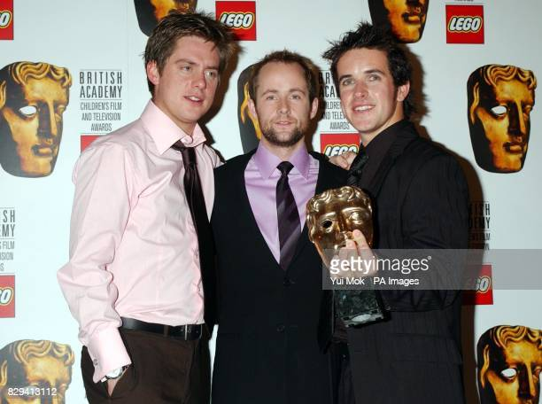 Dick and Dom In da Bungalow hosts Richard McCourt and Dominic Wood with actor Billy Boyd with their award for Best Entertainment at the British...