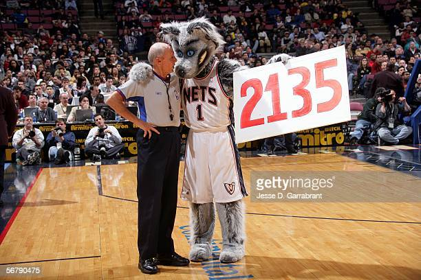 Dick Bavetta with the Nets Mascot at his 2135th game of the New Jersey Nets against the New York Knicks at the Continental Airlines Arena on February...