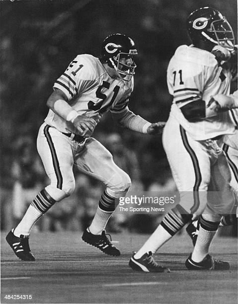 Dick Butkus of the Chicago Bears gets ready to tackle circa 1960s.