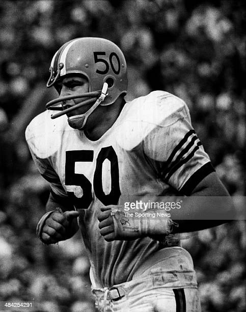 Dick Butkus of the Chicago Bears runs on the field circa 1960s.