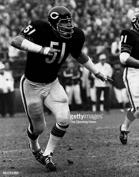Dick Butkus of the Chicago Bears runs on the field circa 1960s
