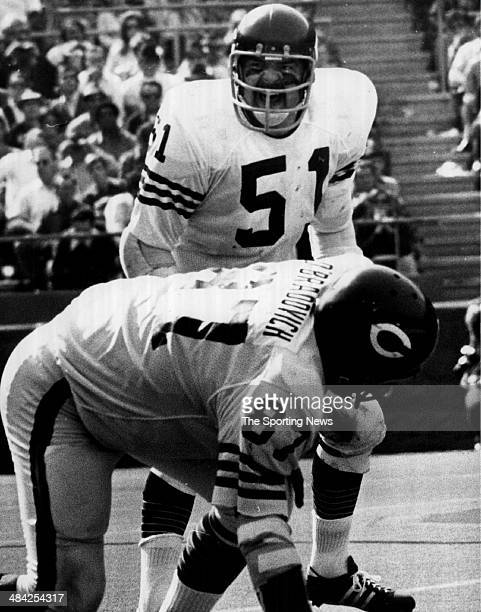 Dick Butkus of the Chicago Bears yells on the field circa 1960s.