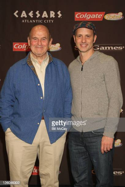 Dick Button and Brian Boitano attend the press conference for The Caesars Tribute A Salute to the Golden Age of American Skating at Caesars Hotel...