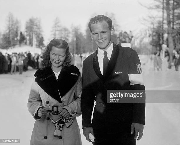 Dick Button from the United States and Barbara Ann Scott from Canada smile for photographers in February 1948 in SaintMoritz during the Winter...