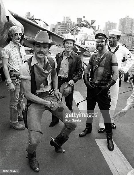 Dick Cavett And The Village People during The USO honors Bob Hope at Aboard the Iwo Jima in New York City NY United States