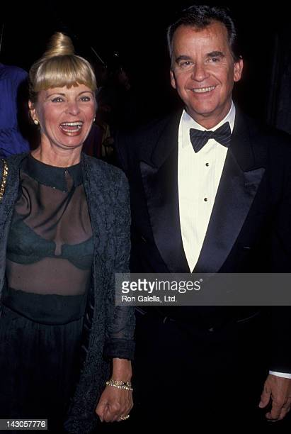 Dick Clark and wife Kari Clark attend Mariah CareyThomas Mattola Wedding Ceremony on June 5 1993 at St Thomas Episcopal Church in New York City