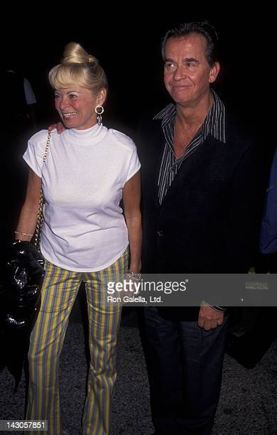 Dick Clark and wife Kari Clark attend Neil Bogart Gala Honoring David Foster on November 12 1997 at the Barker Hanger at Santa Monica Airport in...