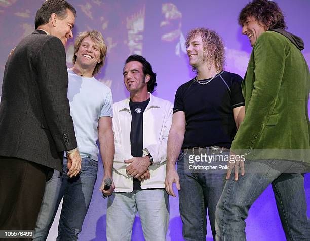 Dick Clark Jon Bon Jovi Tico Torres David Bryan and Richie Sambora of Bon Jovi