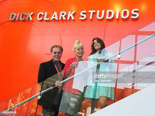 Dick Clark's family members RA Clark Kari Clark and Cindy Clark seen during the Dick Clark Studios dedication ceremony at the S I Newhouse School of...