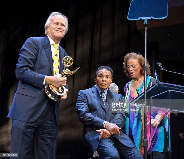 Dick Ebersol receives his Lifetime Achievement Award as Muhammad Ali and Lonnie Ali look on at the 30th annual Sports Emmy awards at Frederick P Rose...