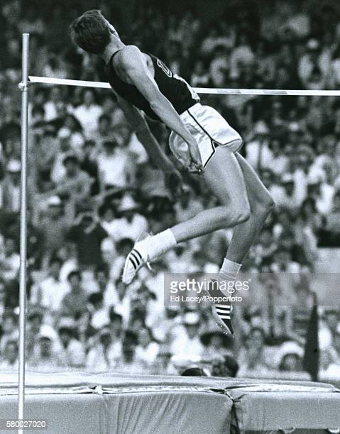 Dick Fosbury of the United States employs the Fosbury Flop to win the high jump event during the Summer Olympic Games in Mexico City circa October...