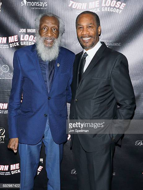 Dick Gregory and actor Joe Morton attend 'Turn Me Loose' opening night at The Westside Theatre on May 19 2016 in New York City