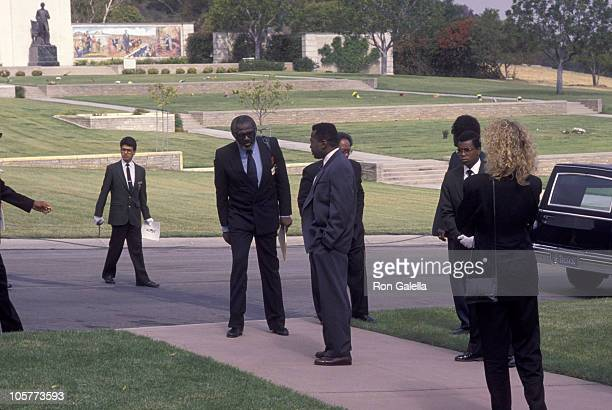 Dick Gregory and Ben Vereen during Funeral for Sammy Davis Jr May 18 1990 at Forest Lawn Memorial Park in Los Angeles California United States
