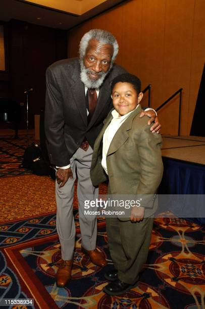 Dick Gregory and Emmanuel Lewis during Trumpet Awards 2005 Honorees and Sponsors Dinner at Omni Hotel at CNN Center Grand Ballroom in Atlanta Georgia...