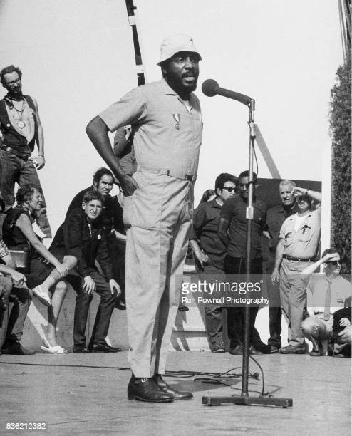 Dick Gregory speaks to crowd at antiwar rally at Grant Park in Chicago IL August 28 1968